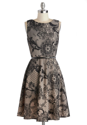 Date Night at Dusk Dress - Mid-length, Knit, Black, Grey, Floral, Belted, Party, A-line, Sleeveless, Better, Holiday Party, 20s