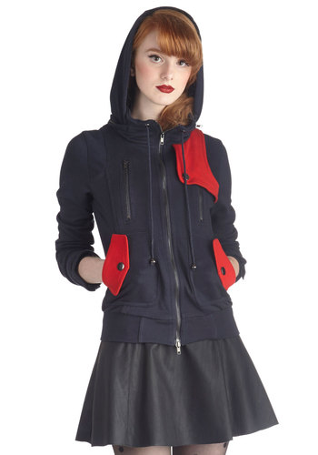Leipzig Hoodie in Navy and Red - Blue, Buttons, Exposed zipper, Pockets, Long Sleeve, Hoodie, Mid-length, Exclusives, 2, Variation, Travel, Sweatshirt, Basic, Fall, Knit, Blue, Winter