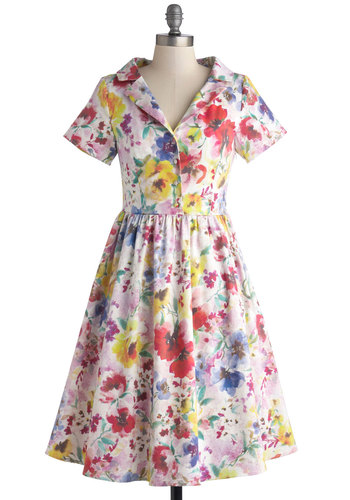 Paint a Picturesque Dress in Floral by Myrtlewood - Woven, Floral, Buttons, Daytime Party, A-line, Short Sleeves, Better, Collared, Exclusives, Private Label, Vintage Inspired, 50s, Fit & Flare, Spring, Multi, Red, Yellow, Blue, Pink, White, Graduation, Long