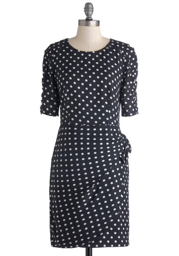 Croissant You Cute Dress by Emily and Fin - Mid-length, Woven, Blue, White, Polka Dots, Ruching, Work, Sheath / Shift, Short Sleeves, Better, Scoop