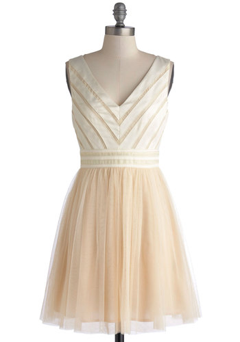 Fairytale of Two Cities Dress - Mid-length, Woven, Cream, Wedding, Cocktail, Bride, A-line, Tank top (2 thick straps), Better, V Neck, Party, Top Rated