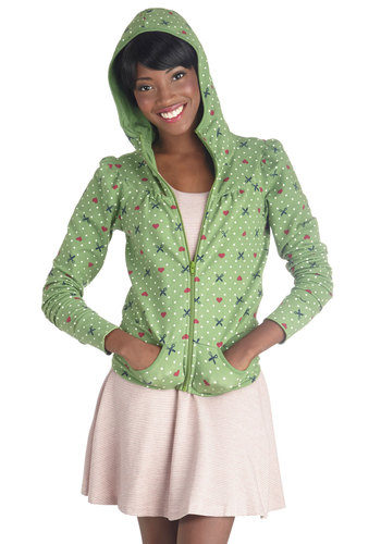Shear and There Hoodie by Blutsgeschwister - Woven, Short, 1, Green, Novelty Print, Pockets, Casual, Hoodie, Long Sleeve, Folk Art, Green, Good