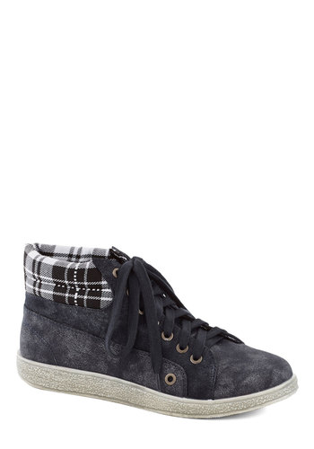 Downtown Campus Sneaker - Flat, Faux Leather, Woven, Blue, Plaid, Casual, Good, Lace Up, White, Solid, Scholastic/Collegiate