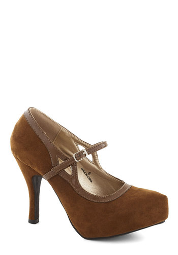 Any Rich Way Heel - High, Faux Leather, Tan, Solid, Formal, Wedding, Party, Work, Cocktail, Platform, Mary Jane