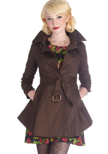 Consistently Charming Trench - Long, Cotton, Woven, 2, Brown, Solid, Pockets, Belted, Long Sleeve, Fall, Brown
