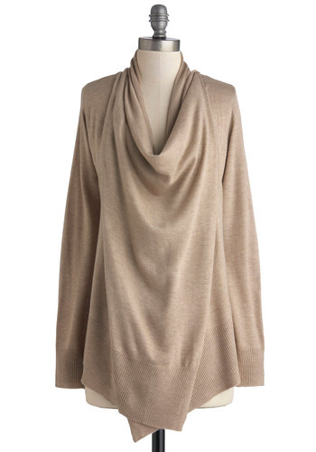 Staycation Destination Cardigan - Knit, Tan, Solid, Casual, Long Sleeve, Better, Brown, Long Sleeve, Mid-length