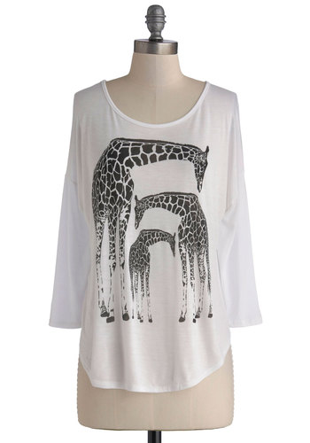 Tower of Three Top - White, Black, Print with Animals, 3/4 Sleeve, Better, Mid-length, Jersey, Knit, White, 3/4 Sleeve