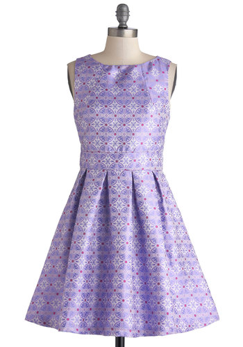 Eye on the Prized Dress - Purple, Multi, Print, Exposed zipper, Pleats, Party, A-line, Sleeveless, Good, Scoop, Mid-length, Woven