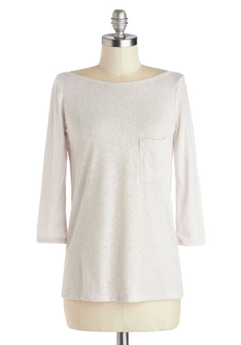Usual Route Top in Latte - Cream, Solid, 3/4 Sleeve, Good, Mid-length, Knit, Pockets, White, 3/4 Sleeve