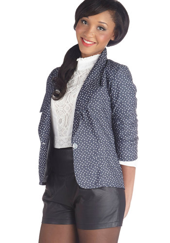 Junior Board Blazer in Hearts - Cotton, Woven, Mid-length, 1, Blue, White, Novelty Print, Pockets, Work, Daytime Party, 3/4 Sleeve, Variation, Exclusives