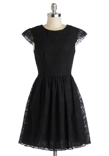 Tribeca Your Best Dress - Black, Solid, Lace, Party, Cap Sleeves, Good, Scoop, Mid-length, Knit, LBD, Lace, Cocktail