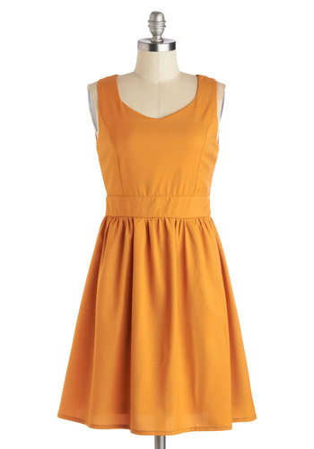Posh Squash Dress - Yellow, Solid, Cutout, Casual, A-line, Tank top (2 thick straps), Scoop, Mid-length, Woven