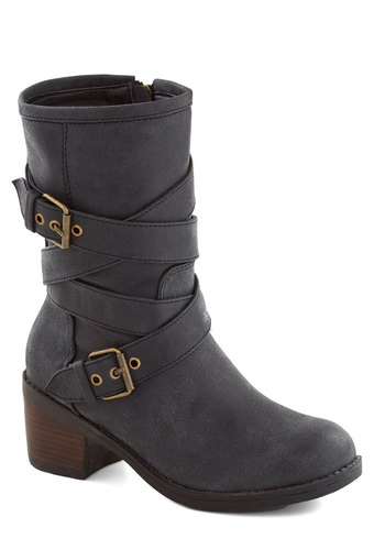 Explore the Outdoors Boot - Black, Buckles, Steampunk, Mid, Better, Faux Leather, Fall