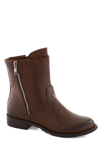 Take to Toronto Boot - Brown, Solid, Exposed zipper, Low, Better, Faux Leather, Fall