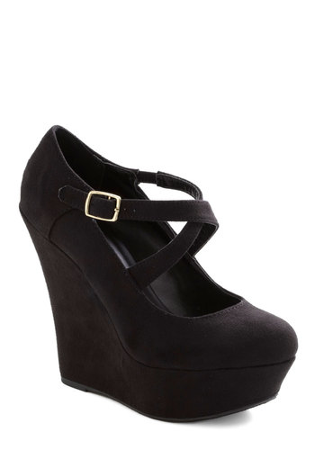 Cocktail Specialist Wedge - Black, Solid, Party, Girls Night Out, High, Good, Platform, Wedge, Faux Leather