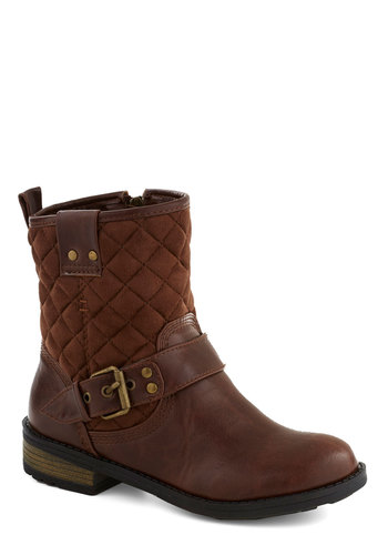Cozy Company Boot - Brown, Buckles, Quilted, Low, Better, Faux Leather, Solid, Rustic, Fall