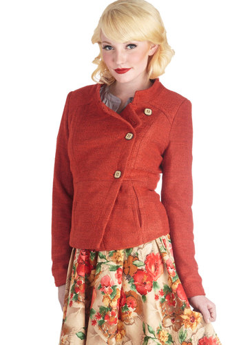 Orange You Happy Jacket - Knit, Short, 1, Orange, Solid, Buttons, Pockets, Long Sleeve, Fall, Orange