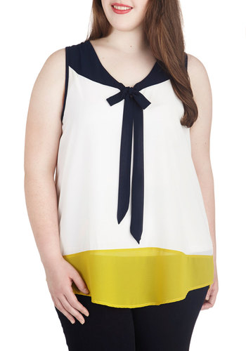 Professional You Need Top in Plus Size - White, Yellow, Blue, Solid, Tie Neck, Work, Daytime Party, Colorblocking, Sleeveless, Chiffon, Sheer, Woven, Exclusives