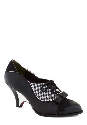 Turnstile Maven Heel in Black and White by Poetic License - Black, White, Solid, Houndstooth, Bows, Trim, Mid, Leather, Best, Party, Work, Film Noir, Vintage Inspired, 30s, 40s, Variation