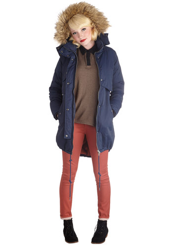 Visiting Vancouver Coat - 5, Blue, Solid, Buttons, Pockets, Hoodie, Long Sleeve, Better, Faux Fur, Long, Blue