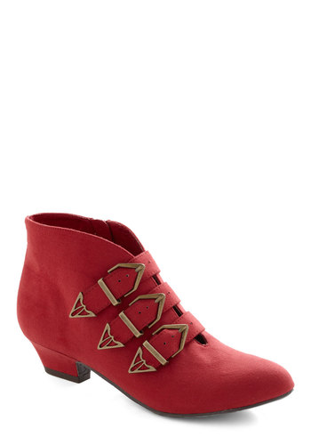 Cinnamon Schnapps Bootie by BC Footwear - Red, Solid, Buckles, Low, Faux Leather, Better