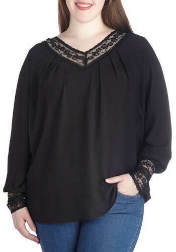 Bistro Brunch Top in Plus Size by BB Dakota - Chiffon, Sheer, Woven, Black, Solid, Lace, Casual, Lace