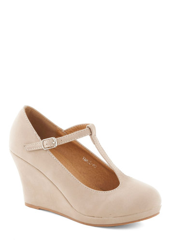 Dashing to Dinner Wedge in Beige - Tan, Solid, Work, Mid, Good, Platform, Wedge, Party, Daytime Party, Minimal, T-Strap, Variation, Basic