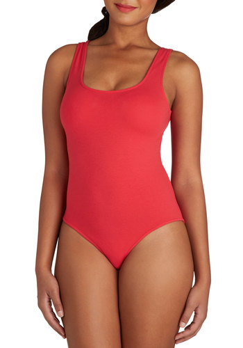 Founding Fashionistas Bodysuit in Red - Mid-length, Cotton, Knit, Red, Solid, Minimal, Tank top (2 thick straps), Variation, Basic, Scoop, Red, Sleeveless, Valentine's