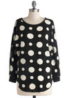 Hits the Spot Sweater - Black, White, Polka Dots, Better, Mid-length, Knit, Casual, Scoop, Black, Long Sleeve, Long Sleeve