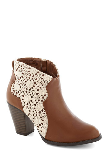 Caramel Corn Bootie - Tan, Tan / Cream, Crochet, Boho, Good, Chunky heel, Mid, Faux Leather, Solid, Folk Art