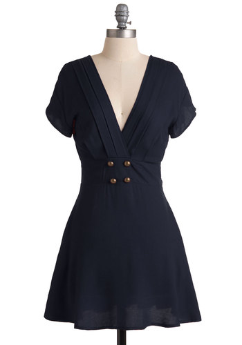 Four Square Dress in Navy - Short, Knit, Blue, Solid, Buttons, A-line, Short Sleeves, Good, V Neck, Pockets, Nautical, Variation, Casual, Military
