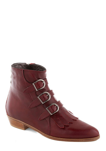 Tasting Menu Boot - Red, Buckles, Tassels, Luxe, Best, Low, Leather, Solid, Exposed zipper, Menswear Inspired, French / Victorian