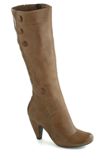 Acting Coach Boot in Concrete by Miz Mooz - Mid, Leather, Faux Fur, Tan, Solid, Buttons, Best, French / Victorian, Fall, Variation