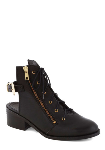 A New Take Bootie - Black, Solid, Exposed zipper, Urban, Best, Lace Up, Chunky heel, Slingback, Mid, Leather, Cutout