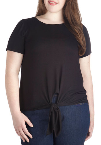 Ready to Unwind Top in Plus Size - Jersey, Knit, Black, Solid, Casual, Short Sleeves, Black, Short Sleeve