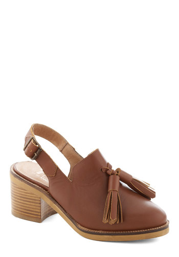 Slingback in the Game Heel - Tan, Solid, Tassles, Mid, Best, Chunky heel, Slingback, Leather, Menswear Inspired, Fall