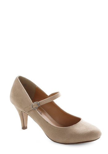 Talk of the Office Heel in Oatmeal - Tan, Solid, Work, Mid, Good, Party, Daytime Party, Minimal, Faux Leather, Mary Jane, Variation, Basic, Top Rated