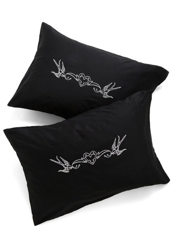 Tat Nap Pillowcase Set - Cotton, Black, White, Rockabilly, Better