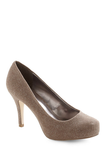 Have It Down Pat Heel in Beige - Tan, Glitter, Formal, Prom, Wedding, Party, Cocktail, Girls Night Out, Holiday Party, Bridesmaid, Bride, Better, Platform, Mid, Silver, Variation, Basic