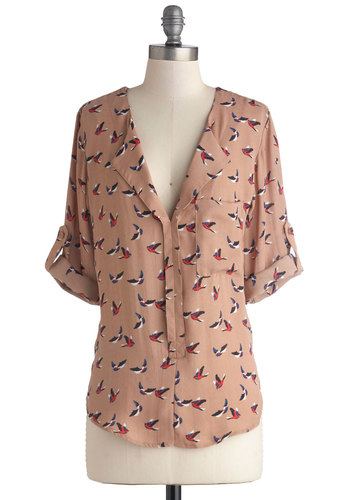 Haven't You Bird Top - 3/4 Sleeve, Woven, Mid-length, Tan, Print with Animals, Buttons, Epaulets, Pockets, Long Sleeve, Good, Chiffon, Multi, Casual, Top Rated, Brown, Tab Sleeve