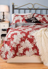 Beautiful Dreaming Quilt Set in King - Cotton, Red, Black, Checkered / Gingham, Floral, Dorm Decor, Best, White, Quilted