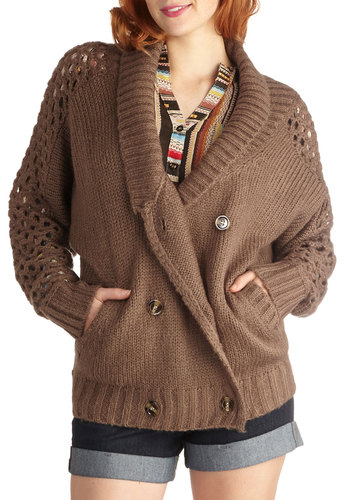 Snuggles for Days Cardigan - Knit, Mid-length, Brown, Crochet, Knitted, Casual, Long Sleeve, Solid, Buttons, Pockets, Double Breasted, Fall, Brown, Long Sleeve