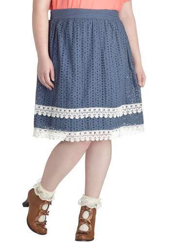 Breakfast Guest Skirt in Plus Size - Cotton, Woven, Exclusives, Blue, White, Solid, Eyelet, Lace, Daytime Party, A-line, Lace