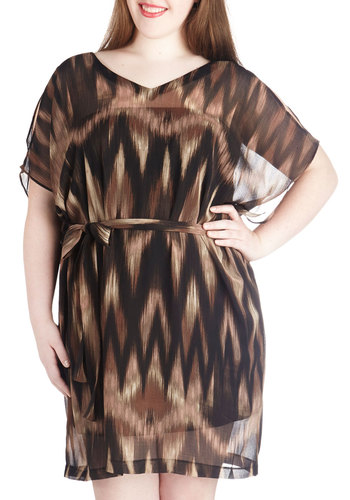 Make Your Day Dress in Plus Size by BB Dakota - Sheer, Woven, Brown, Tan / Cream, Black, Print, Belted, Party, Shift, Short Sleeves