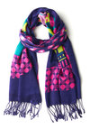 Town and Comfy Scarf - Woven, Purple, Multi, Fringed, Novelty Print