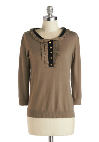 Miss Genealogy Sweater - Brown, Black, Buttons, Peter Pan Collar, Casual, 3/4 Sleeve, Knit, Mid-length, Brown, Long Sleeve