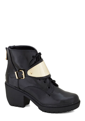 Next Big Thing Boot - Black, Buckles, Mid, Lace Up, Chunky heel, Faux Leather, Better, Gold, Solid