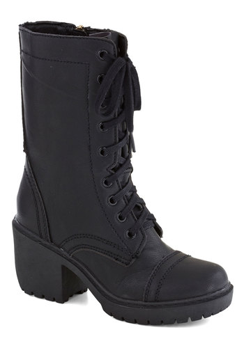 Student by Day Boot - Black, Solid, Mid, Lace Up, Chunky heel, Faux Leather, Better