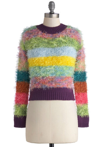 Colored With Character Sweater - Multi, Stripes, Long Sleeve, Short, Knit, 90s, Cropped, Multi, Long Sleeve