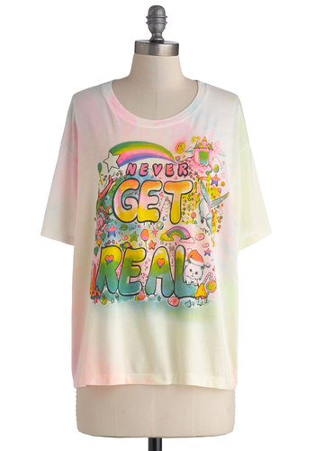 Eternal Daydream Tee - White, Casual, Short Sleeves, Mid-length, Jersey, Knit, Multi, Novelty Print